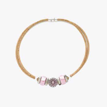 Colier cu cristal si ceramica roz
