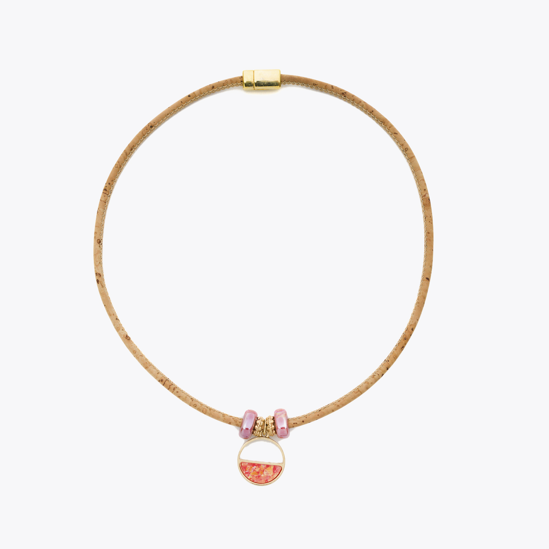 Colier cu inel si ceramica roz somon