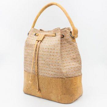 Geanta-bucket cu imprimeu texturat alb