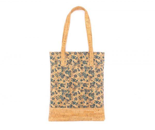 Geanta-shopper cu imprimeu floral albastru