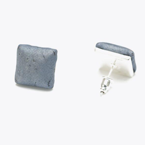 Cercei bumbi gri metalizat