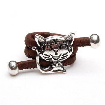 Inel reglabil cu pisicuta - maro