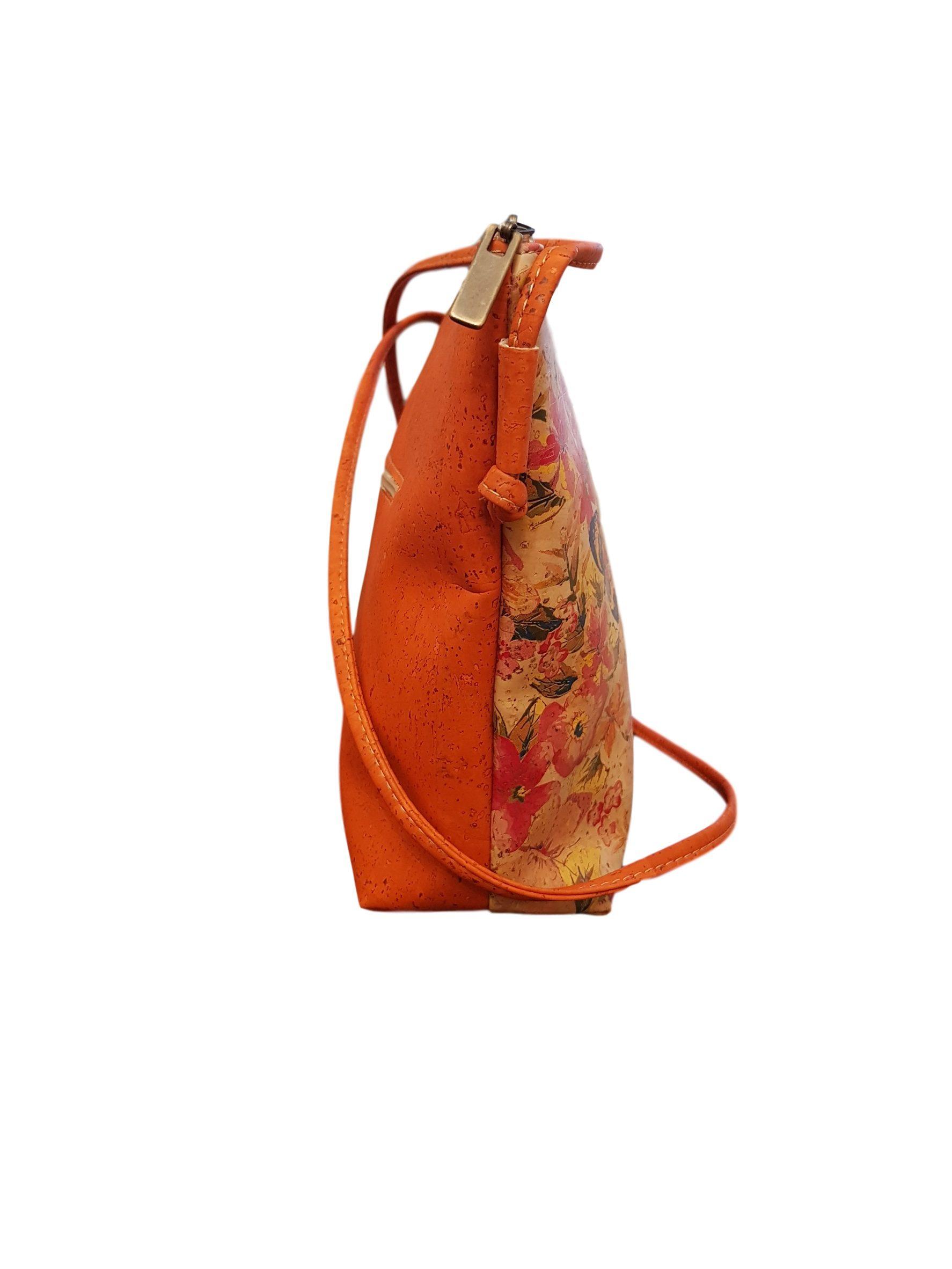 Geanta crossbody oranj cu imprimeu floral
