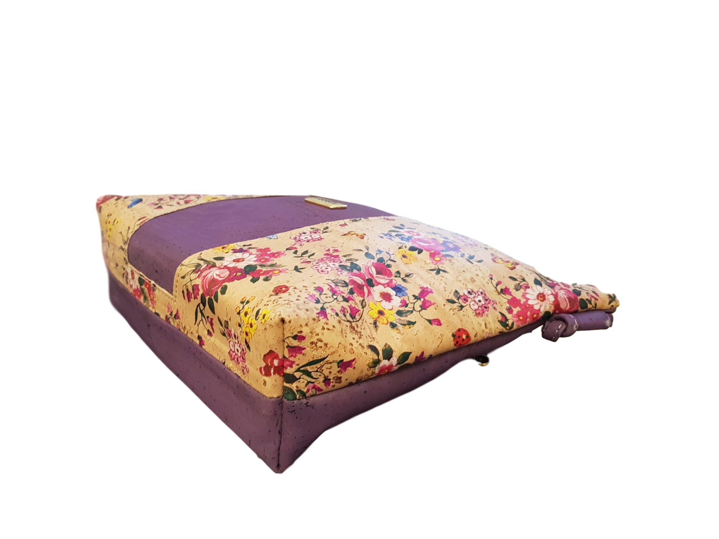 Geanta crossbody violet cu imprimeu floral