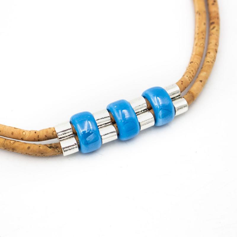 Colier cu ceramica albastra