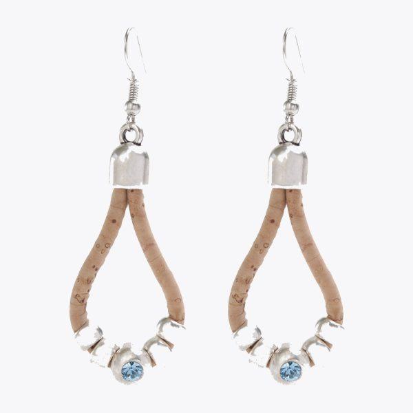 Cercei creole cu cristale albastre