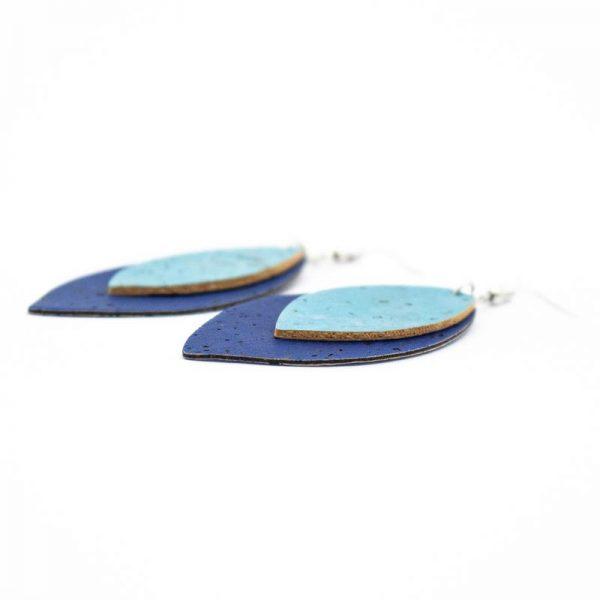 Cercei din pluta frunze albastre1