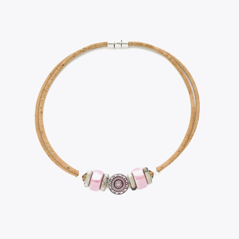 Colier cu Mandala si ceramica roz