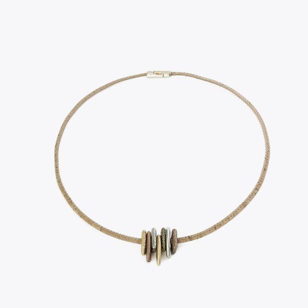 Colier cu inele metalice auriu-argintiu-rose
