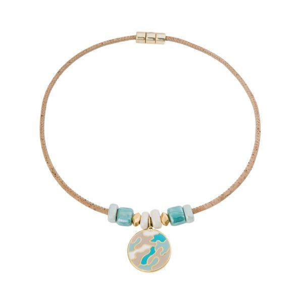 Colier cu medalion auriu-smarald