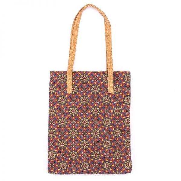 Geanta - shopper cu imprimeu floral (grena)