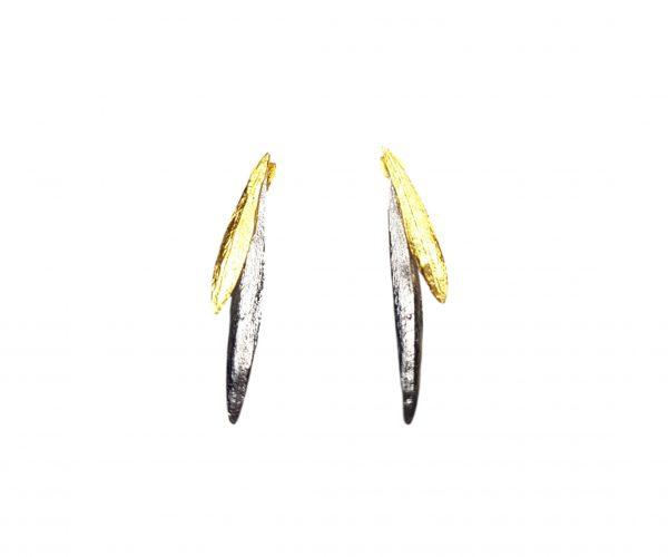 Cercei lungi cu surub Silver and Gold1