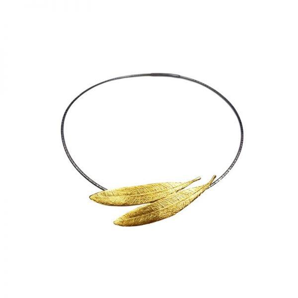 Colier din argint masiv Golden Leaves