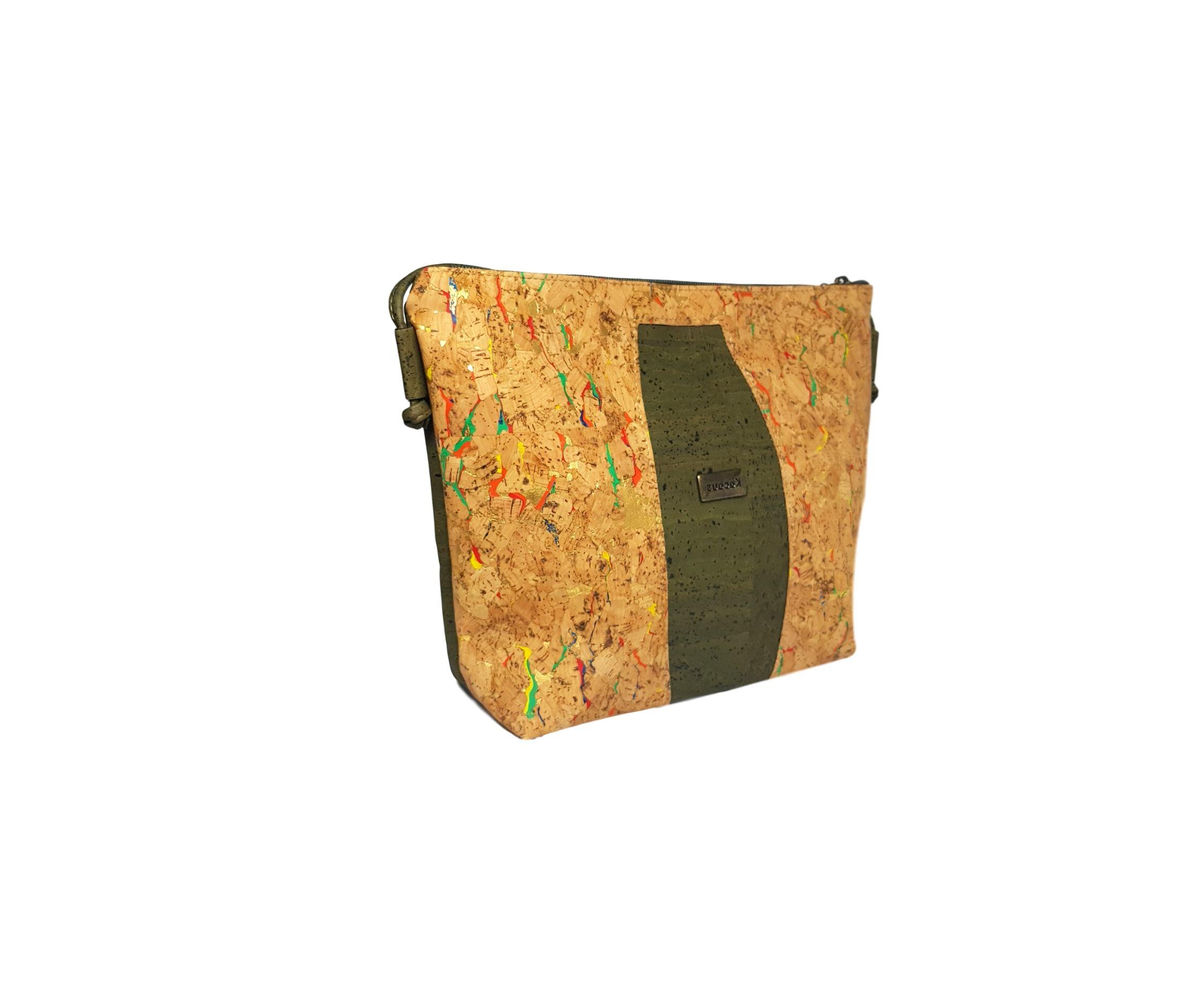 Geanta crossbody verde-multicolor-auriu