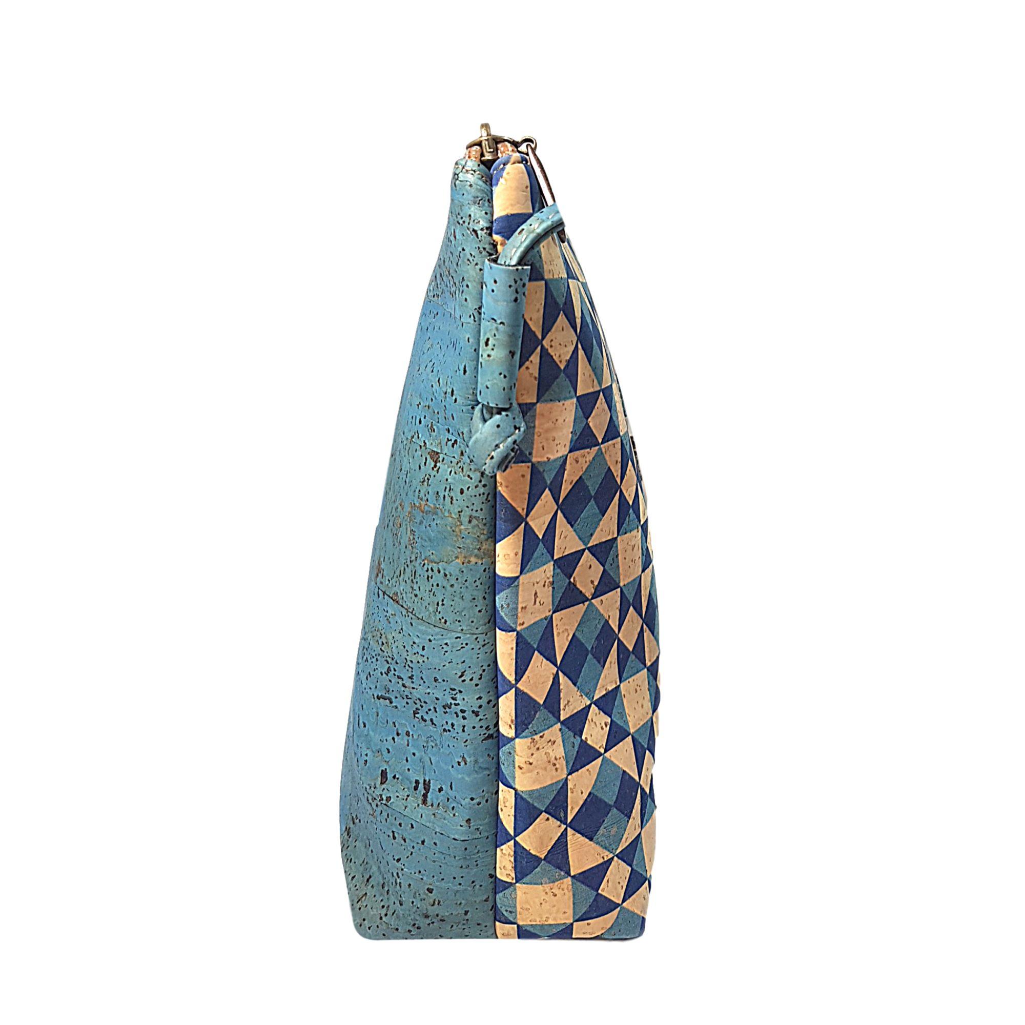Geanta crossbody albastru-geometric