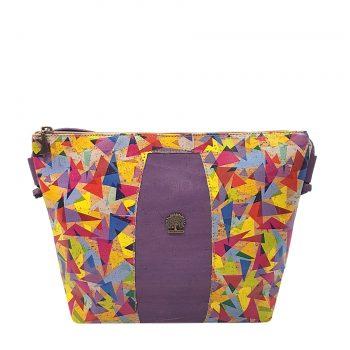 Geanta crossbody violet-galben-geometric