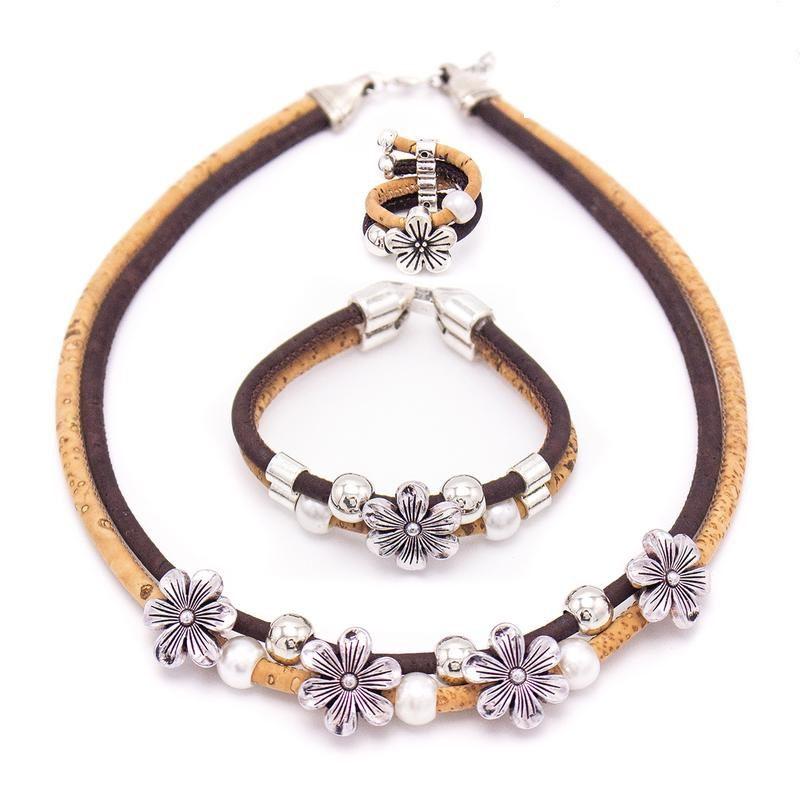 Set 3 piese cu flori si perle