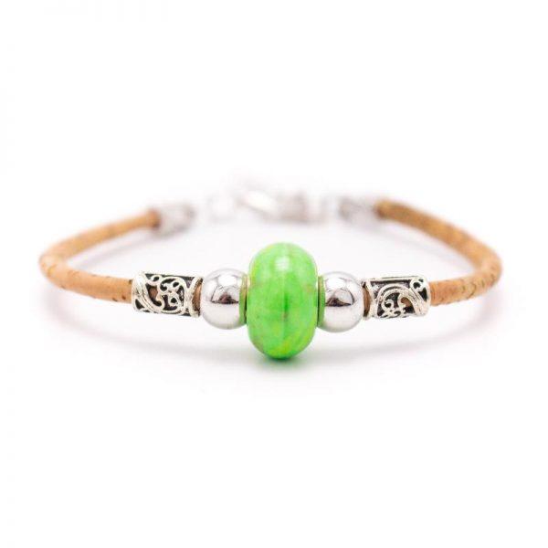 Bratara cu bila de portelan colorata-verde