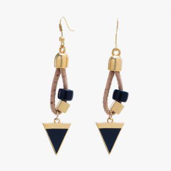 Cercei cu ornament triunghiular negru