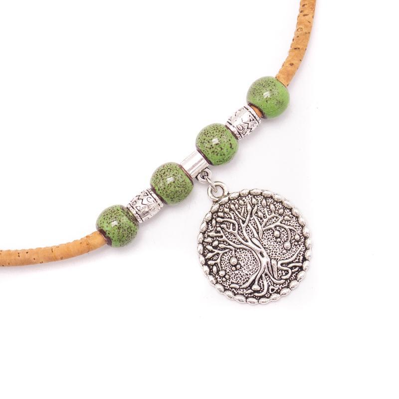 Colier simplu Copacul vietii cu ceramica verde
