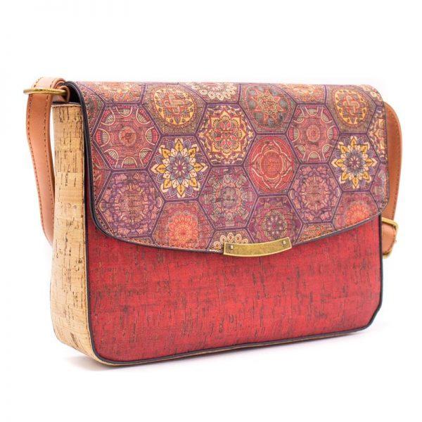 Geanta crossbody cu capac rosu-azulejos
