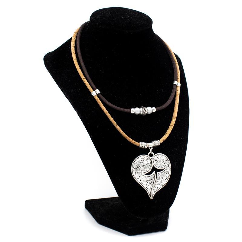 Colier dublu cu medalion inima