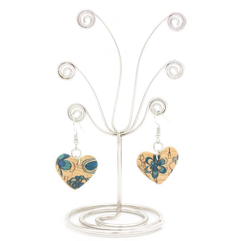 Cercei inimioare cu floricele albastre