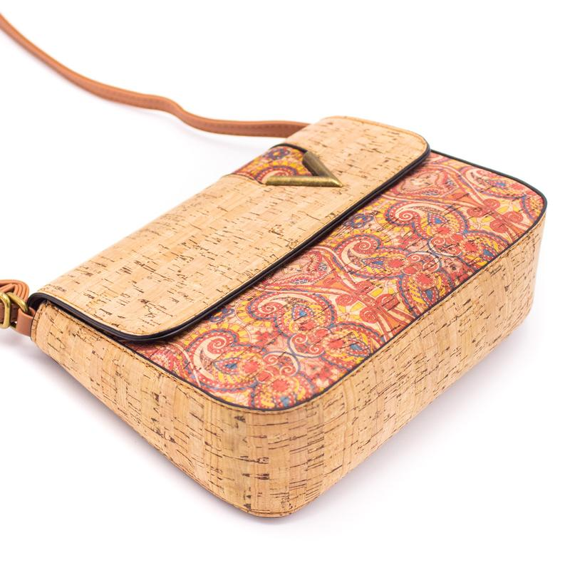 Geanta crossbody cu capac natural-multicolor