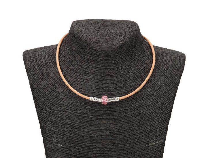 Colier charm cu cristale roz