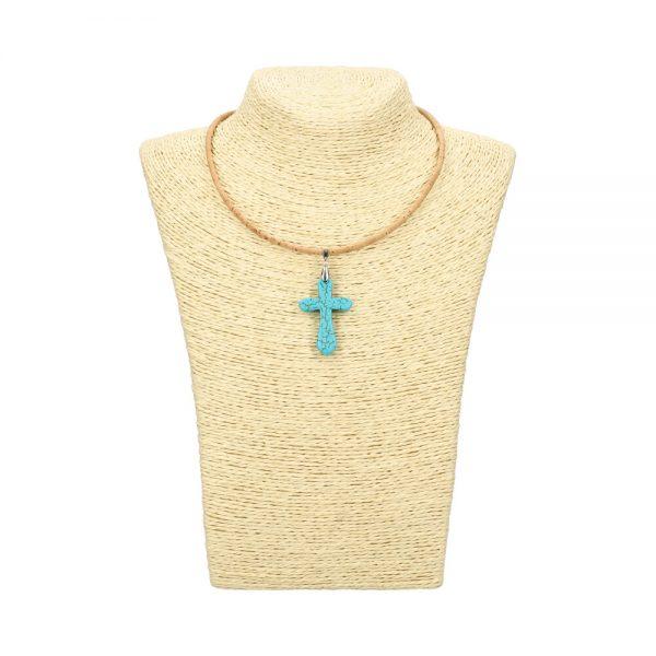 Colier crucifix turcoaz